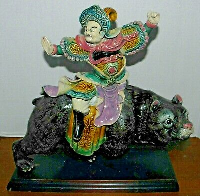 """Chinese Immortal Ceramic Figurine~Riding a Bear~12.5""""~Handpainted~As Is~On Stand"""