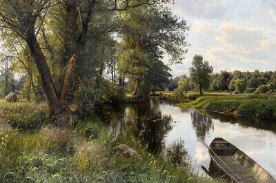 Summer landscape with river floodplain oil painting Art Printed on canvas L2660