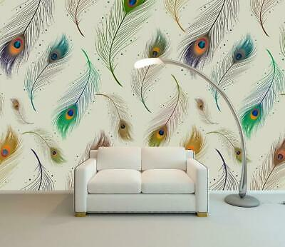3d Beautiful Peacock Feather Self Adhesive Removable Photo Wallpaper Wall Mural Wallpaper Murals Home Garden