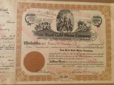 Territory of Arizona Mining Stock Certificate Tom Reed Gold Mines 1909