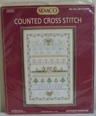 SEMCO COUNTED CROSS STITCH - ANTIQUE SAMPLER - KIT No 6016.6609 - UNUSED KIT