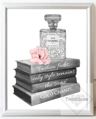 Fashion Inspired Faux Glitter Perfume Bottle Art Picture - A4 Print