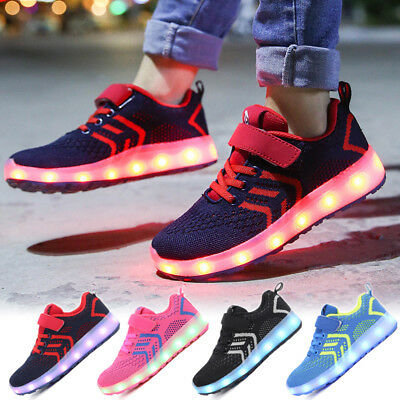 AU Kids Boys Girls Light Up Shoes LED Flashing Trainers Casual Sneakers FULL New