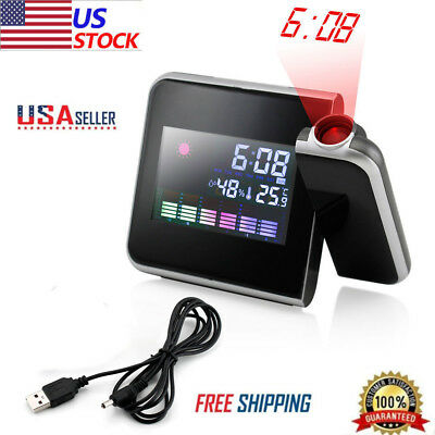 New Projection Digital Weather LCD Snooze Alarm Clock Color Display Backlight