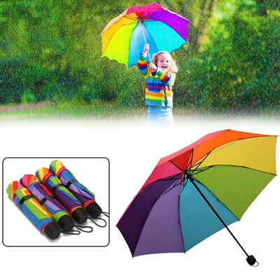Newest Folding Umbrella Rainbow Anti-UV Parasols Windproof Compact Rain Brolly