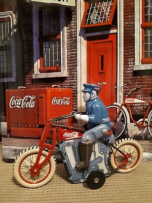 Tin Windup Oldstyle Motorcycle And Rider With Coca Cola Custom Graphics.