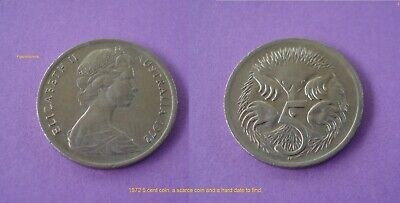 1972 Australian 5 cent coin, a very nice circulated example. Scarce hard to find