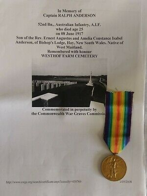 Australian WW1 Victory medal. Captain.DOW 1917. 52Bn. Mentioned for bravery 1916