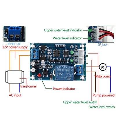 XH-M203 Full Automatic Water Level Controller Pump Switch Module AC/DC 12V Relay