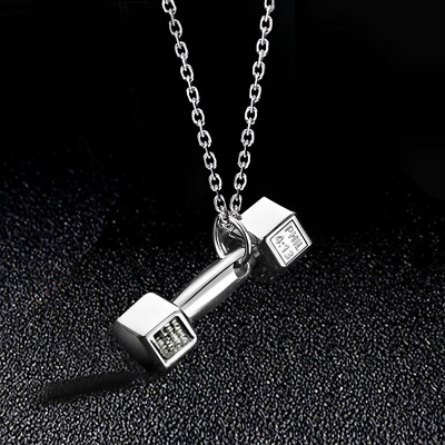 Stainless Steel Dumbbell Barbell Pendant Necklace Fitness Gym Crossfit Hip hop