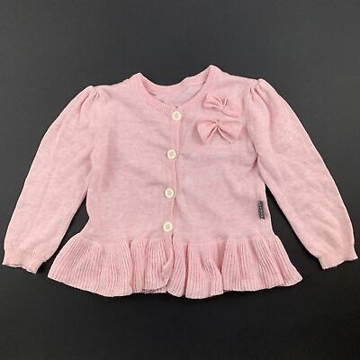 Girls size 0, Nutmeg, pretty pink cotton knitted cardigan, GUC