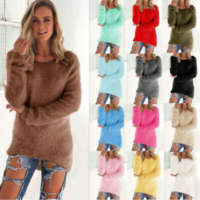 Womens Fluffy Sweatshirt Casual Sweater Long Sleeve Pullover Blouse Jumper Tops