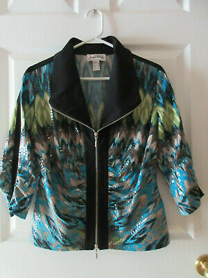 Joseph Ribkoff Multi-Colored Jacket Women's Size 14 3/4 Ruched Sleeves