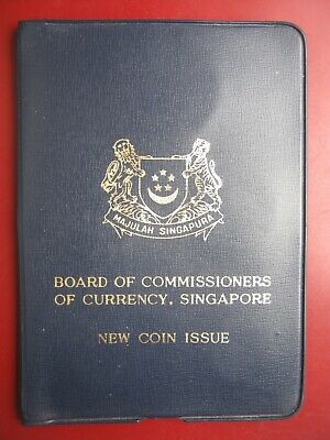 Singapore 1968 UNC 6 coin collection set:1 Cent - $1 Dollar in navy folder info
