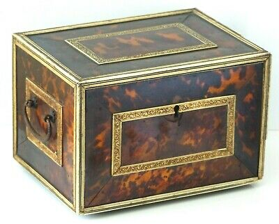 Antique 17th Century Indo Portuguese faux Tortoiseshell Table Cabinet / Casket