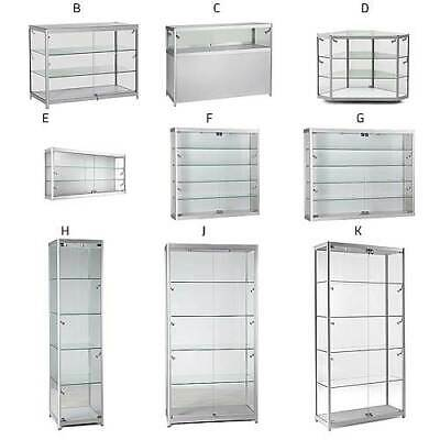 Glass Display Cabinets Counters Wall Units With Locks & Halogen Lights