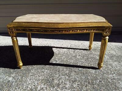Lovely French Marble Top Coffee Table On An Ornately Carved Gold Wooden Base