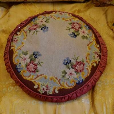 Beautiful Antique French Hand Worked Floral Needlepoint,Tapestry Pleated Cushion