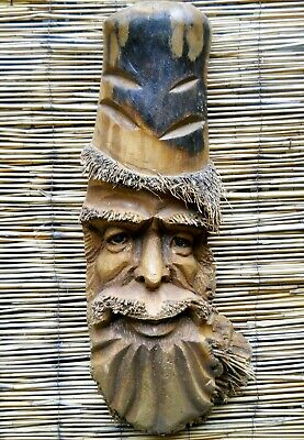 Carved Wooden Bamboo Root Old Man Face Mask NEW STYLE 58 cm Indoor / Outdoor