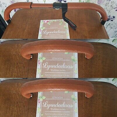 Bugaboo DONKEY faux leather handle bar 2 bumper bar COVERS ONLY Tan Quilted