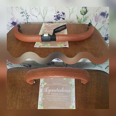Bugaboo DONKEY faux leather handle bar 1 bumper bar covers NEW SHAPE Tan quilted