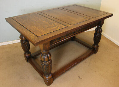 Antique Large Oak Draw Leaf Refectory Farmhouse Dining Extending Kitchen Table