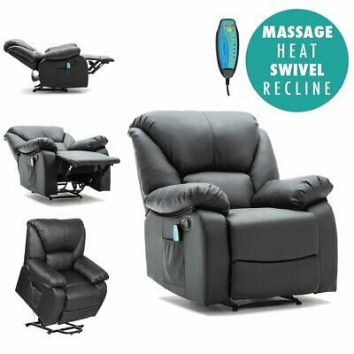 Manual Rise Heated Pu Leather Massage Recliner Armchair Sofa Home Lounge Chair