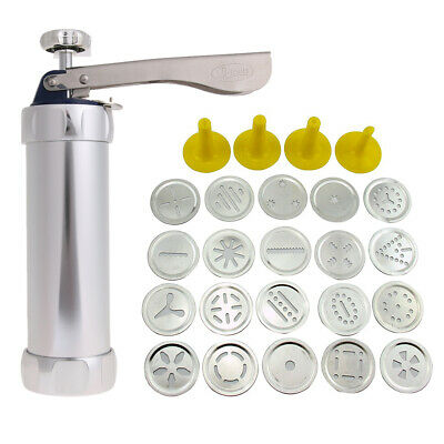 Stainless Steel Cookie Maker Pump Press Machine 20 Mold 4 Nozzles Baking Set