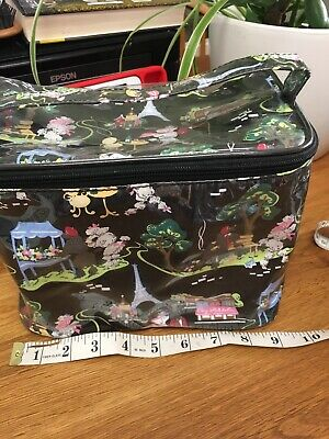 """NICK & NORA TOILETRY/COSMETIC BAG  Black With French Design 9""""X6""""X6"""""""