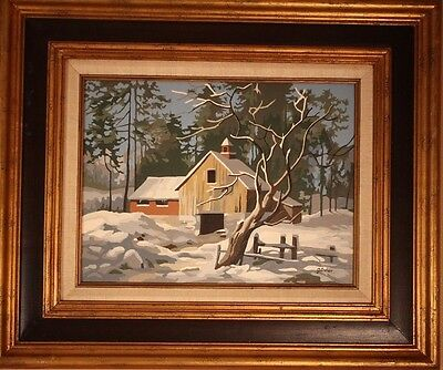 Vtg Paint by Number Barn in Snow Winter Oil Mid Century PBN Signed Framed 21x25