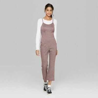 Wild Fable Women's Plaid Strappy Knit Jumpsuit - Red