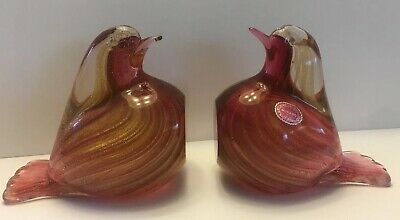 Vintage Archimede Seguso Pink & Gold Sommerso Murano Glass Bird Bookends