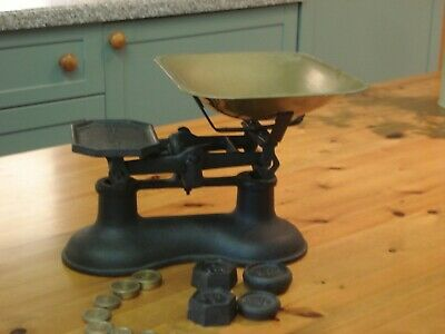 VINTAGE KITCHEN SCALES.- CAST IRON & BRASS VGC with Metric & Imperial Weights.