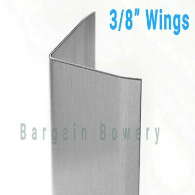 """Stainless Steel Angle Corner Guard Wall Trim for Kitchen 18 Gauge 48""""x2""""x2"""" WING"""