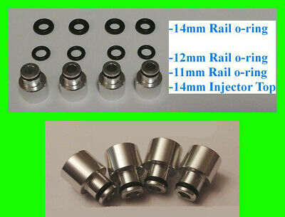 x4 EV14 14mm to 11mm 12mm 14mm Fuel Rail Injector Adapter Top Hat 34mm to 48mm