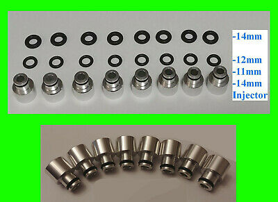 x8 EV14 14mm to 11mm 12mm 14mm Fuel Rail Injector Adapter Top Hat 34mm to 48mm