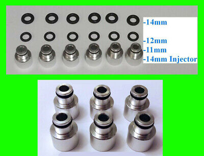 x6 EV14 14mm to 11mm 12mm 14mm Fuel Rail Injector Adapter Top Hat 34mm to 48mm