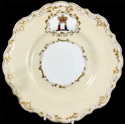 M021 ANTIQUE CRESTED COPELAND & GARRETT CREAM GROUND PLATE WITH CORONET o