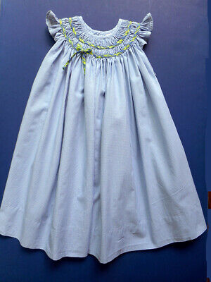 Girls Mary James Smocked Blue Gingham Party Dress 2T Portrait Church