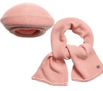 CARREMENT BEAU - BERET - PULL ON HAT & SCARF SET - 2-6 Years - PEACHY PINK - NEW