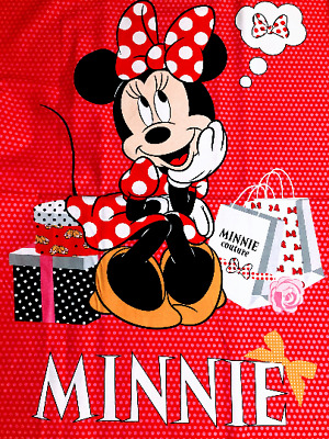 Minnie Mouse red shop Fabric Panel Disney Springs Creative Cotton quilting yard