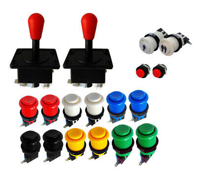 Kit Joysticks Americanos Arcade x2 Rojos Red 12 botones 2 player MAME Bartop