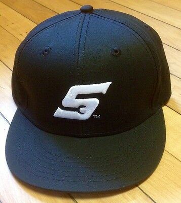 *NEW* Snap On Tools FLAT BILL Black baseball Hat/Cap WHITE Embroidered S Logo