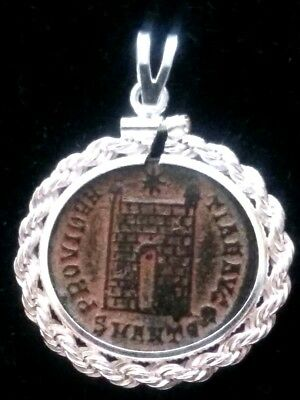 Constantine Great Camp-Gate Genuine Ancient Roman Coin Sterling Pendant Red Sand
