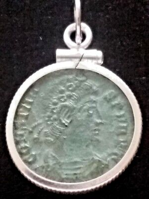 Constans RARE Chi-Rho Victory Genuine Ancient Roman Coin Sterling Pendant Charm