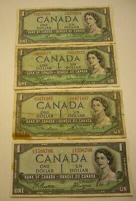 1954 Canada $1 Banknote Lot w/All 4 Signature Combinations