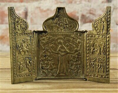 18Th C Antique Russian Traveling Icon Triptych Mother Of God Joy No Reserve