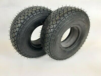 PAIR OF SOLID 4.00-5 (330x100) Mobility Scooter tyres, (Good Care) BLACK.