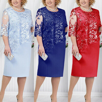 Fashion Womens Lace Midi Dress Ladies Evening Party Cocktail Prom Plus Size 8-22