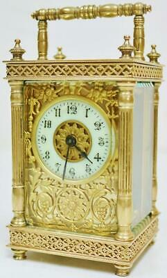Antique French Carriage Clock 8 Day Brass Fretwork & Glass Mask Dial Timepiece